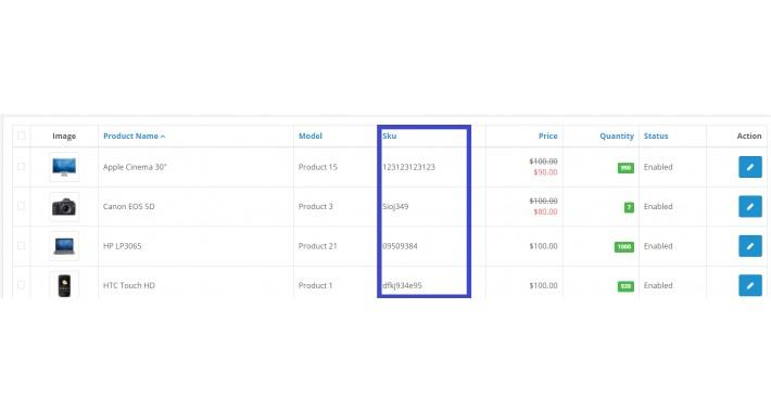 Sku Product List Admin