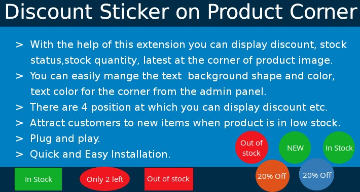 Discount Sticker on Product Corner