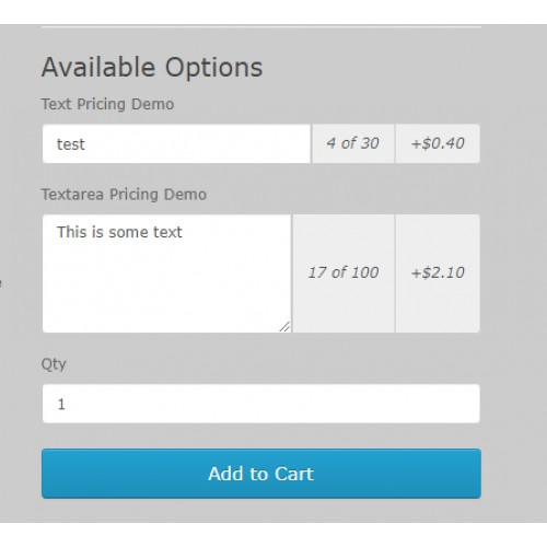 OpenCart - Text/Textarea Pricing by Character or Word (2 x/3 0)