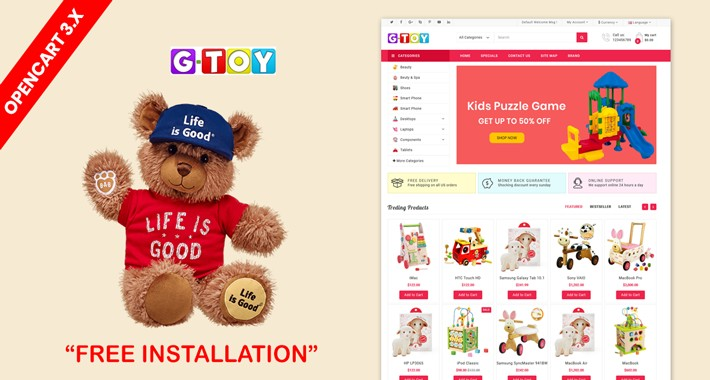 G-Toys store OpenCart 3.x Website Theme(toys,kids,child)