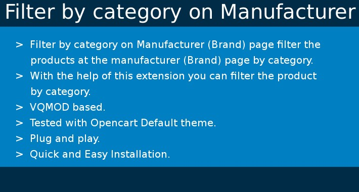 Filter Product by Category on Manufacturer(Brand) Page