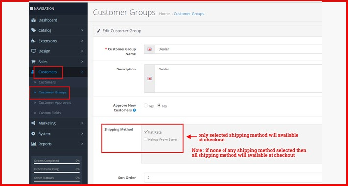 Shipping Method By Customer Group