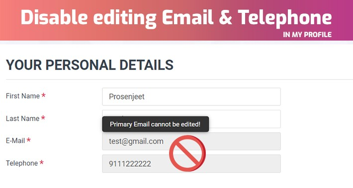 Disable editing Email | Disable email option in edit profile