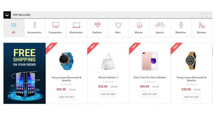 Opencart Products Tabs-Slider Product Listing Tabs