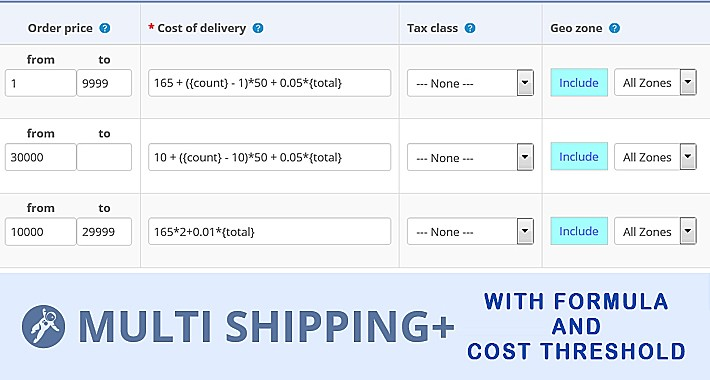 Multi shipping with formula and cost threshold for oc2.3x