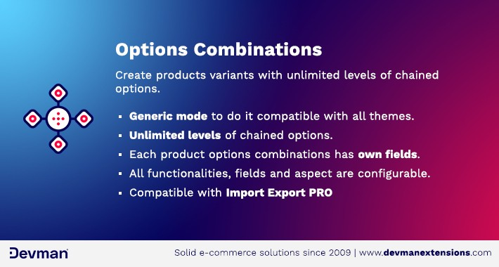 Options combinations - Chained options - Product variants