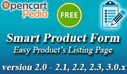 Opencart Smart Product Form - Add/Edit Form