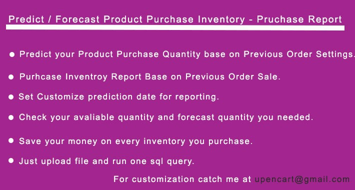 Predict / Forecast Product Purchase Inventory - Pruchase Report