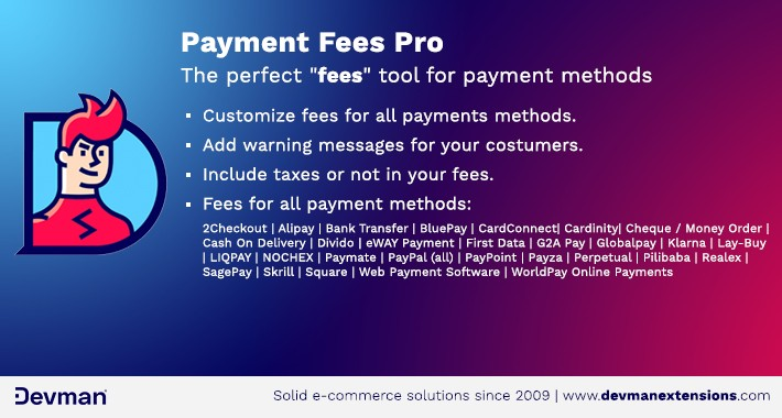 Payment Fees PRO - Assigns fees to payment methods