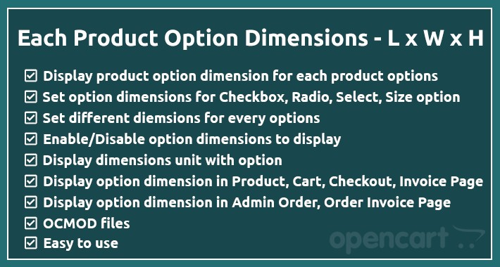 Each Product Option Dimensions - (Length x Width x Height)