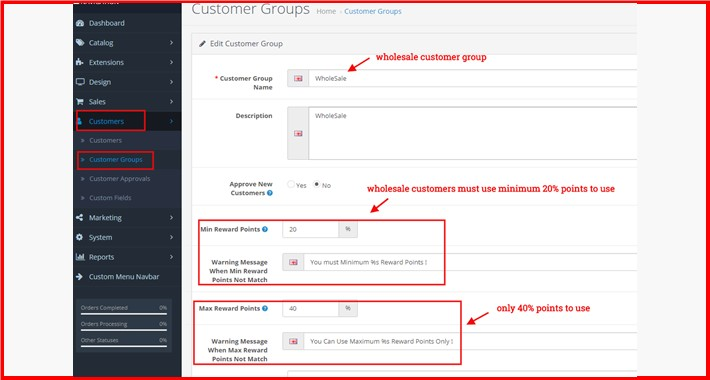 Min-Max Percentage Of Reward Points To Use By Customer Group