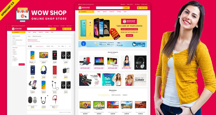 Wowshop OpenCart Multistore Theme (Electronic, Toys, Grocery)