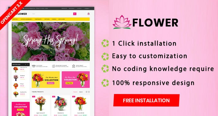 Flower opencart 3.x multipurpose website theme