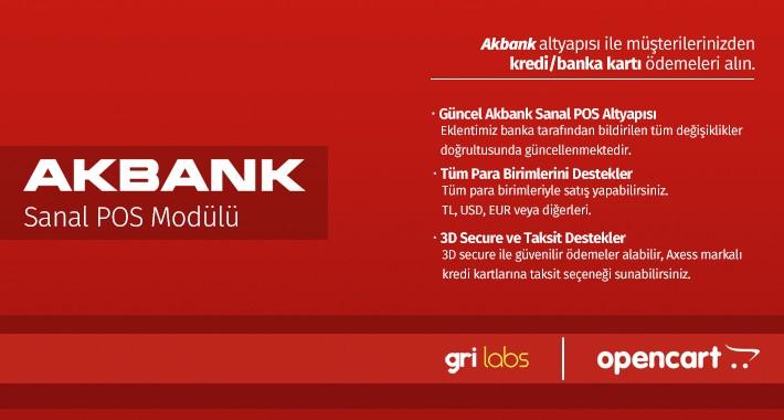 Akbank OpenCart Sanal POS Modülü - Akbank OpenCart vPOS Module