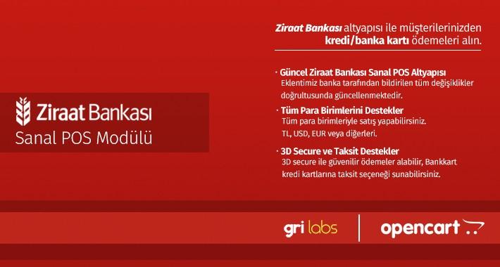 Ziraat Bankası OpenCart Sanal POS Modülü - Ziraatbank OpenCart