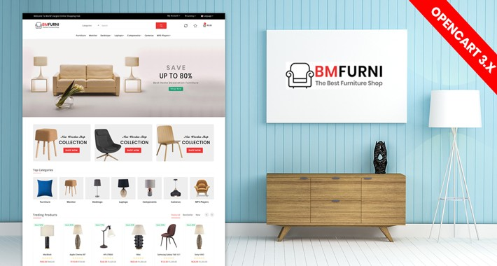 BM Furniture Responsive website template (Free Installation)