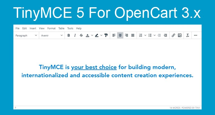 TinyMCE 5 for Opencart 3.x
