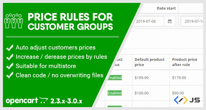 Customer groups prices (Auto price changer) / Price rules