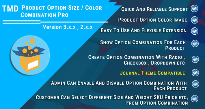 Product Option Size & Color Combination Pro