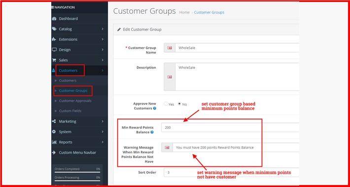 Minimum Reward Points Balance Must Have By Customer Group