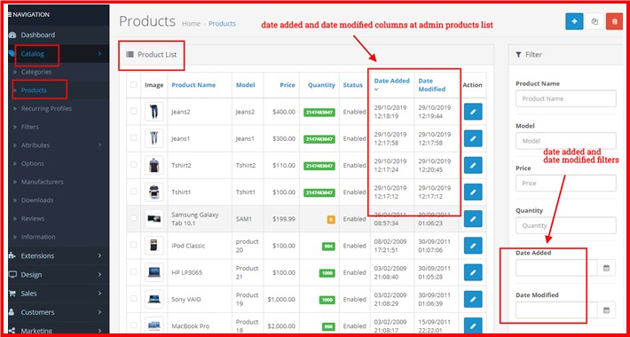 Admin Product List Sort By Date Added Or Modified