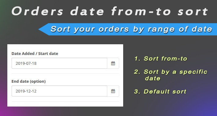 Orders date from-to sort