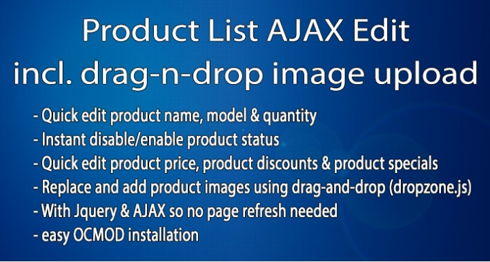 Product List AJAX Edit with drag-n-drop Image Upload