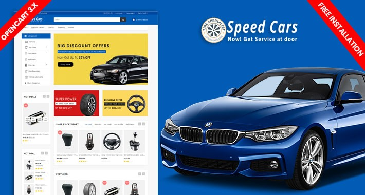 Speed Cars Responsive Opencart Theme (Free Installation)