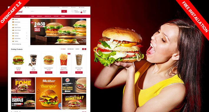 SiFood Responsive Opencart Theme (Free Installation)