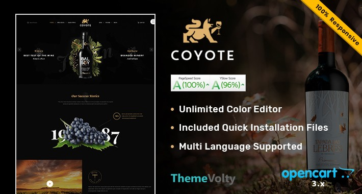 Wine Coyote Shop Mega Premium Opencart Theme