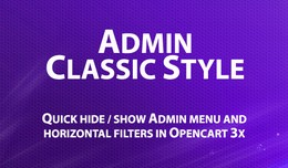 Admin Classic Style for menu and filters in Open..