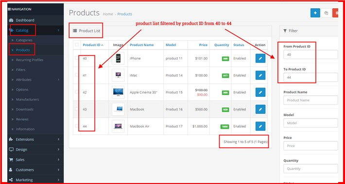 Product ID From-To Based Filter At Admin Product List