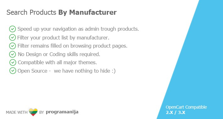 Search Products By Manufacturer In Admin