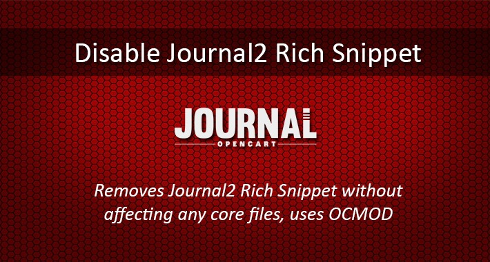 Disable Journal2 Structured Data Snippets for Opencart 3.x.x.x