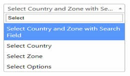 Select Country and Zone with Search Field