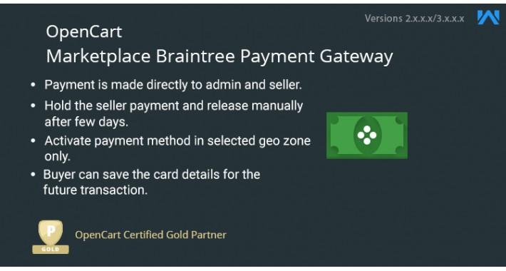 Opencart Multi Vendor Marketplace Braintree Payment Gateway