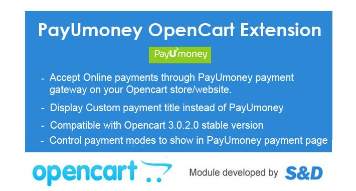 PayUmoney OpenCart Extension with Advanced features