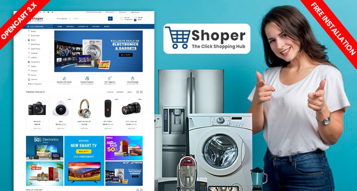 Shopper Electronics  Website Template (Free Installation)