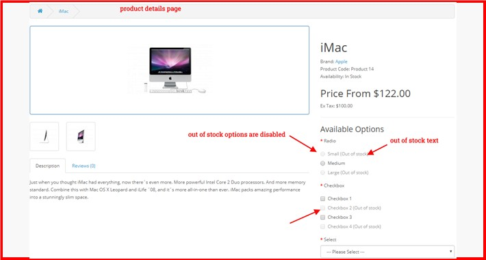 Out Of Stock Product Option Disable