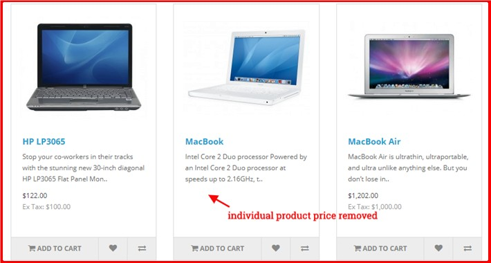 Hide Price For Individual Product