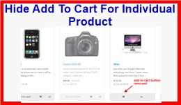 Hide Add To Cart For Individual Product