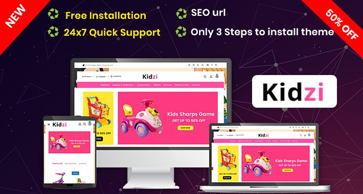 Kidzi- Baby Kids Toys opencart Website Theme (Free Installation)