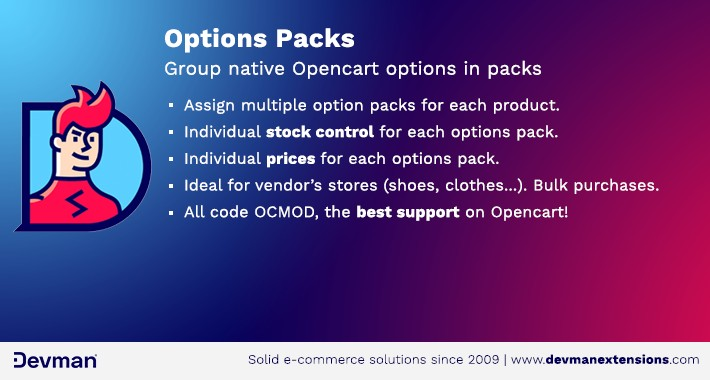 Options Packs - Group native Opencart options in packs/lots