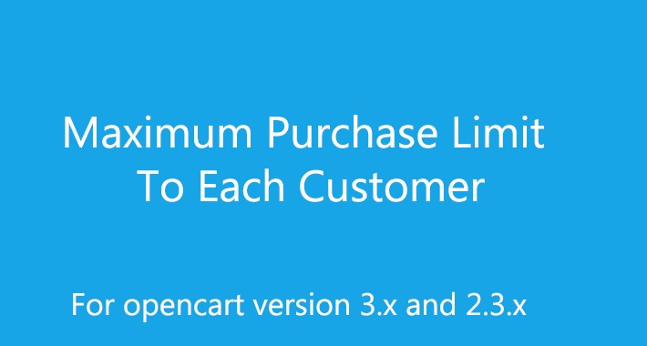 Maximum Purchase Limit to Each Customer