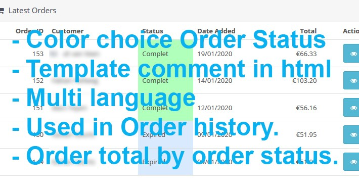 Order status color and mail order status template