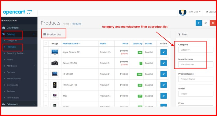 Admin Product Filter By Category-Manufacturer