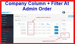 Company Column + Filter At Admin Order