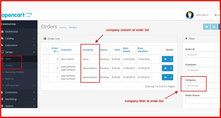 Company Column + Filter At Admin Order