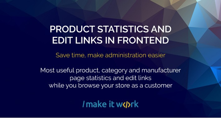 Product statistics and Edit links in FrontEnd