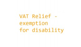VAT Relief for disability